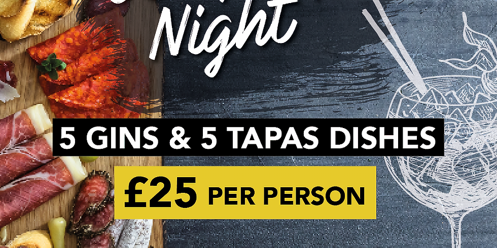 Gin & Tapas Pairing Night! £25 for 5 Gins and 5 Tapas Dishes