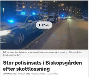 Stor polisinsats i Biskopsgården efter skottlossning