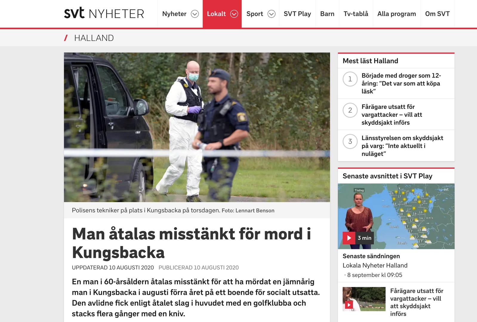 Man åtalas misstänkt för mord i Kungsbacka