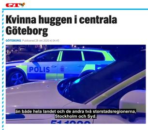Kvinna huggen i centrala Göteborg