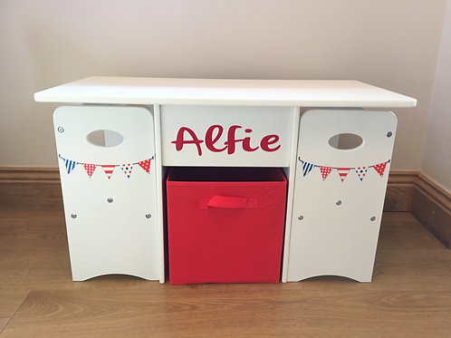 Kids Storage Play Table & Chairs, RWB Bunting (Red text)