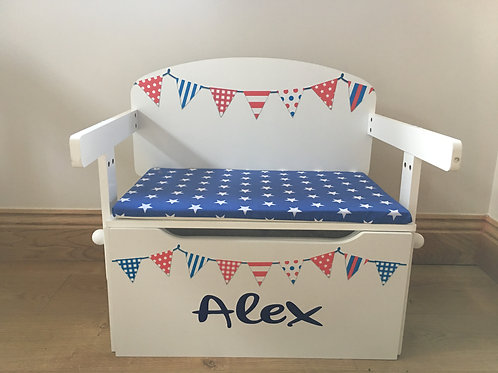 RWB Bunting Toy Box  & Cushion
