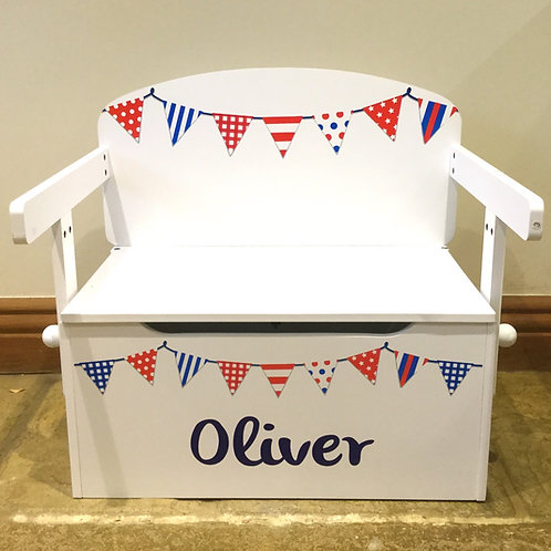Kids Toy box /desk RWB Bunting with personalisation