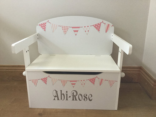 Kids Toy Box  PEACHY PINK Bunting -personalised