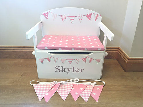 Complete Set - Peachy Pink Personalised Toy Box, Cushion & Bunting