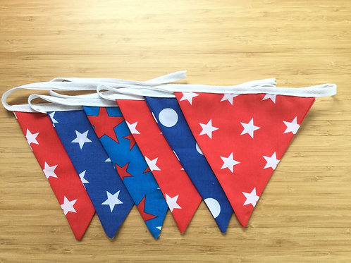 Red, white & Blue stars and spots bunting