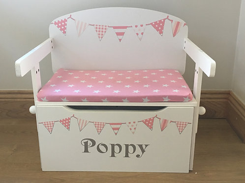 Peachy Pink Toy box (new factory slight seconds ) with White Stars Cushion