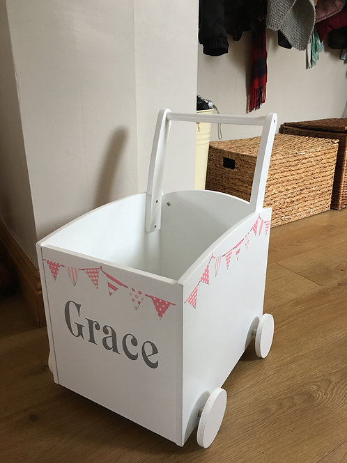 Kids Toy Box Trolley  (Peachy Pink Bunting) INC PERSONALISATION