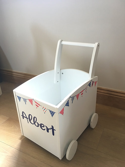 Kids Toy Box Trolley  (Red, White & Blue Bunting)  INC PERSONALISATION
