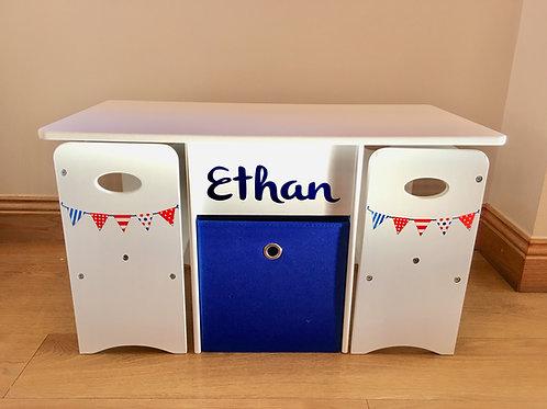 Kids Storage Play Table & Chairs, RWB Bunting (blue text)
