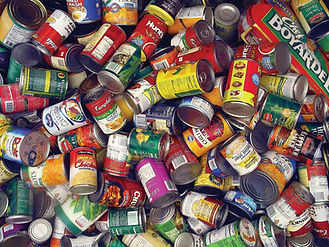 boxes of canned goods