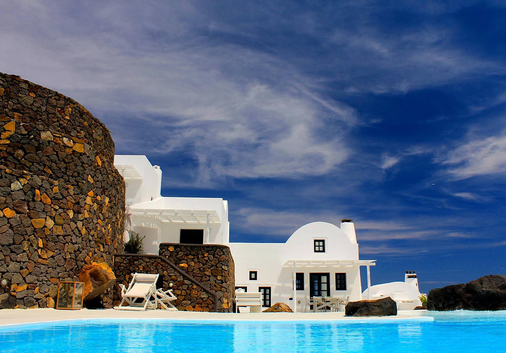 Two of the 6 villas at Aenaon Villas, Santorini