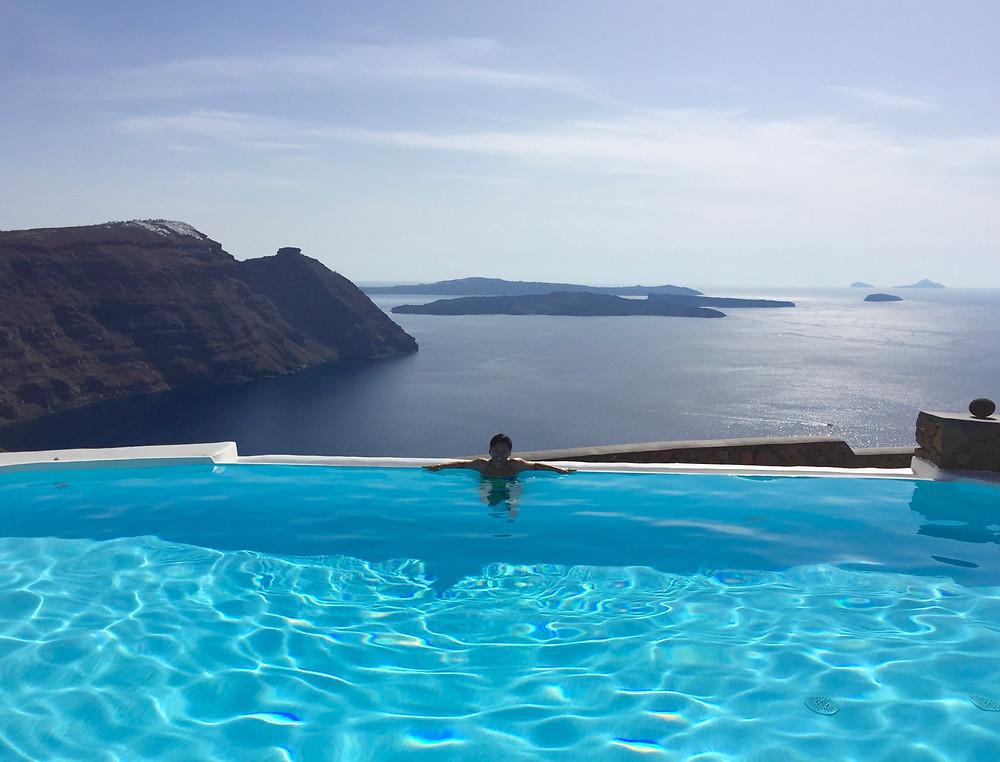 View across the caldera, Aenaon Villas, Santorini