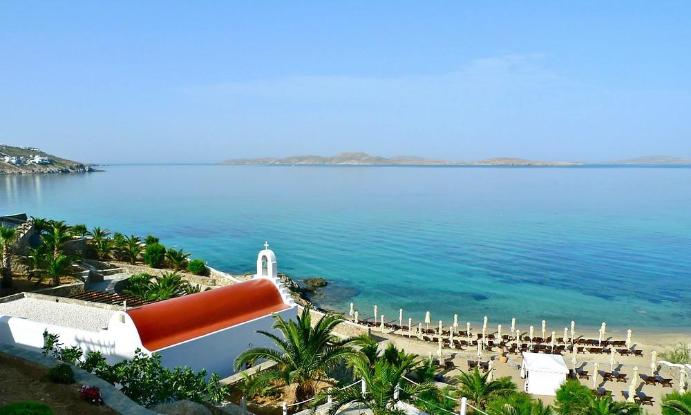 The Mykonos Grand across to Delos