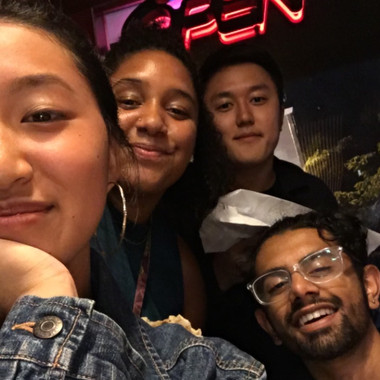(from L to R) Kelly Chang, Desirae Nelson, Danny Kim, and Rishi Nemorin on a food run after the first official rehearsal (Fall 2019)