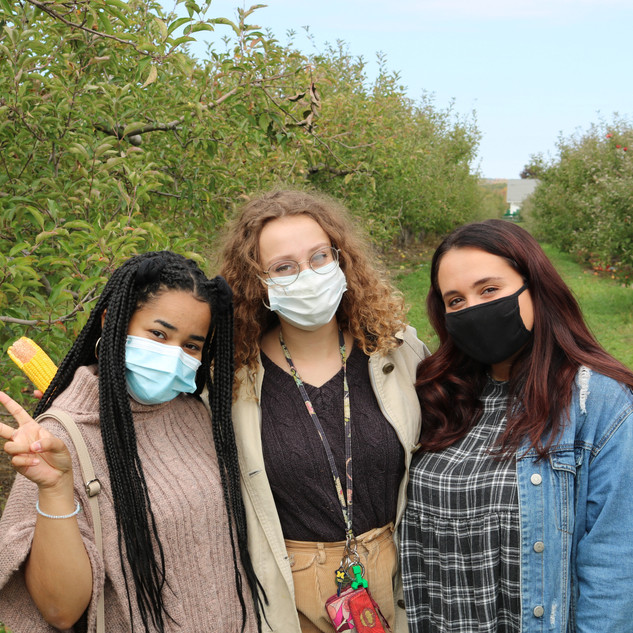 (from L to R) Allayna Hight, Allie Lavacek, and Morgan Kaplan at the Apple Orchard Social (Fall 2020)