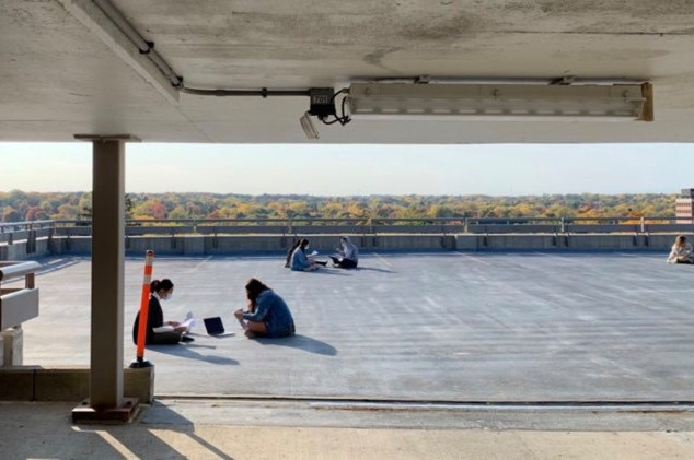 Greenies learn music at parking garage rehearsals at Thompson Parking Structure (Fall 2020)