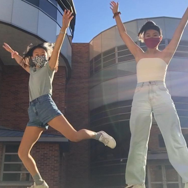 Allison Choe and Kelly Chang go for a walk during a rare, hot November day (Fall 2020)
