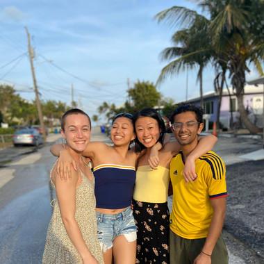 (from L to R): Teddi Reynolds, Kelly Chang, Allison Choe, and Rishi Nemorin enjoying spring break in Florida (Winter 2020)