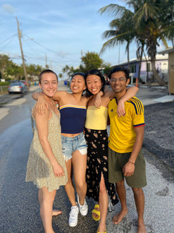 Teddi Reynolds, Kelly Chang, Allison Choe, and Rishi Nemorin enjoy the warm weather during spring break (Winter 2020).
