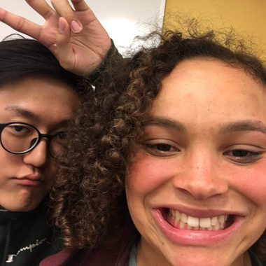 Danny Kim and Mira Shane pose for a selfie during song selection (Fall 2018)
