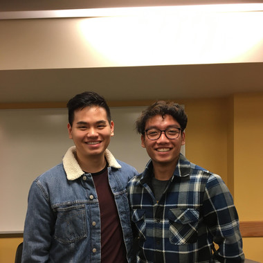 (from L to R) Newbies Eric Hsieh and Nick Tran during initiation (Winter 2020)