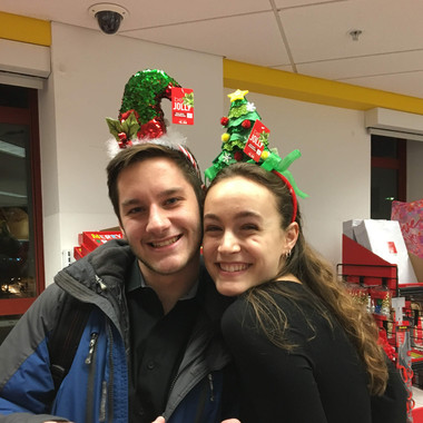Ben Doubek and Teddi Reynolds pose in Walgreens during the filming of the Walgreenes Concert promo videos (Fall 2018)
