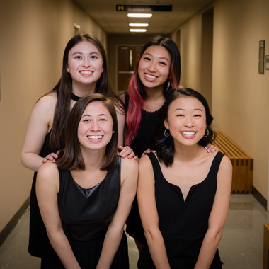 (from L to R back) Rivkah Levine, Kelly Chang, (from L to R front) Caroline Bromberg, and Allison Choe pose for a photo before the 2019 Fall Concert: Greenie Night Live
