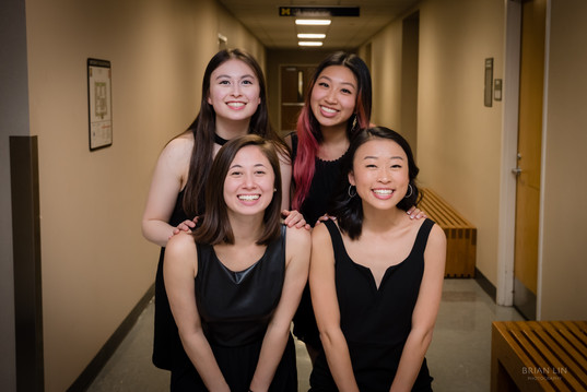 (Back L-R): Rivkah Levine, Kelly Chang (Front L-R): Caroline Bromberg, Allison Choe pose for a picture before the concert (Fall 2019)