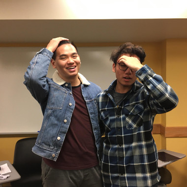A candid photo of newbies (from L to R) Eric Hsieh and Nick Tran during initiation (Winter 2020)
