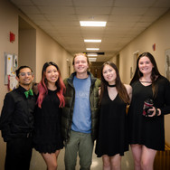 (from L to R) Rishi Nemorin, Kelly Chang, Tim Everett, Rivkah Levine, and Sarah Kleppe pose for a quick shot before the concert (Fall 2019)