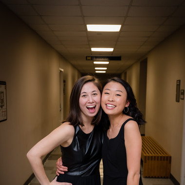 The newbies (from L to R) Caroline Bromberg and Allison Choe right before their first concert (Fall 2019)