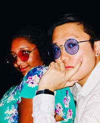 Desirae Nelson and Danny Kim serving looks on the beach at night during spring break (Winter 2019)