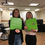 (from L to R) Newbies Caroline Bromberg and Allison Choe during initiation (Fall 2020)