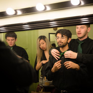 Greenie newbies (from L to R) Brian Heyman, Kelly Chang, Rishi Nemorin, and Ben Doubek prepare for their first concert (Fall 2018)
