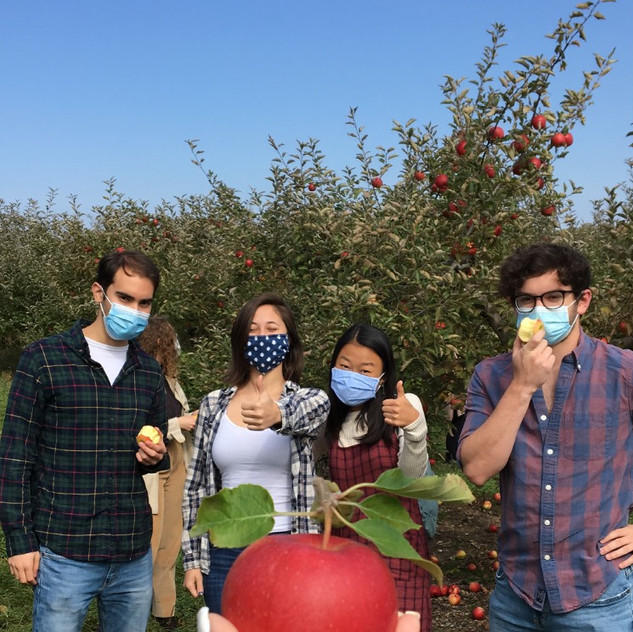 (from L to R) Scott McMillan, Caroline Bromberg, Allison Choe, and Brian Heyman pose for a photo at the Apple Orchard Social (Fall 2020)