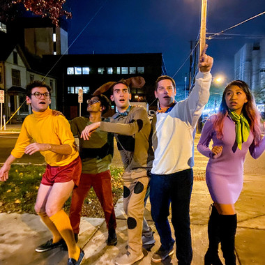 (from L to R) Brian Heyman, Rishi Nemorin, Scott McMillan, Ben Doubek, and Kelly Chang go as the Mystery Gang for Halloween (Fall 2019)