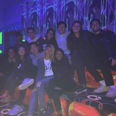 Greenies are hyped up for laser tag during Retreat (Fall 2018)