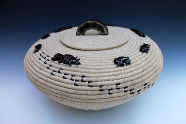 """Buffalo Nation"" Basket w/ Buffalo Horn"