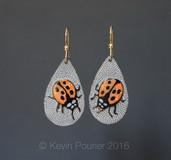 """""""Lady Bugs"""" Buffalo Horn Earrings,"""