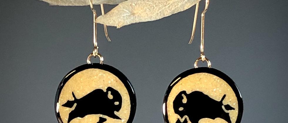 Buffalo Horn with inlaid Sandstone Buffalo Earrings