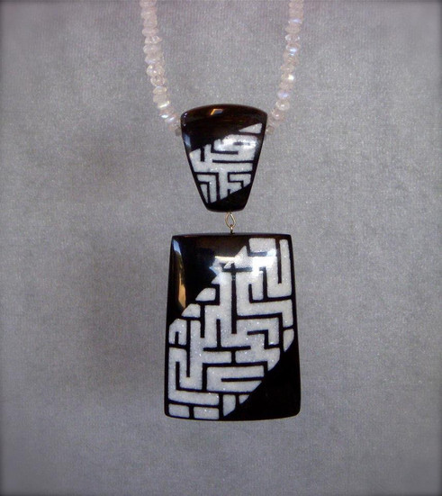 Buffalo Horn inlaid with White Mother of Pearl