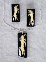 Horse Nation Buffalo Horn Pendant and Earrings