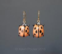 """Buffalo Horn Lady Bug Earrings"""
