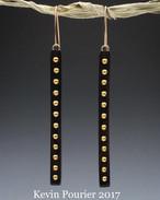 Buffalo Horn Earrings with Brass Tacks
