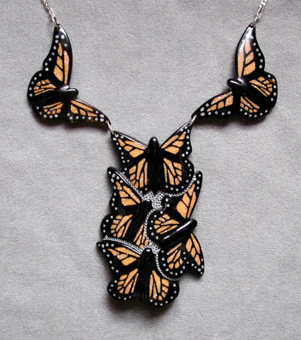 Buffalo Horn Necklace with Monarchs