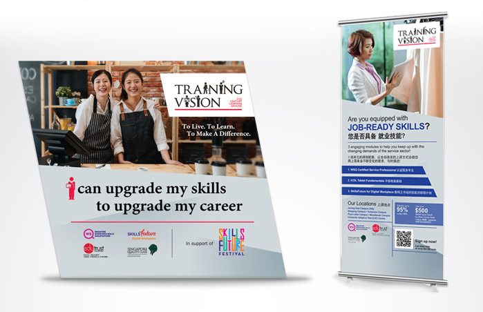 Training Vision Institute career fair booth backdrop and pull-up banner