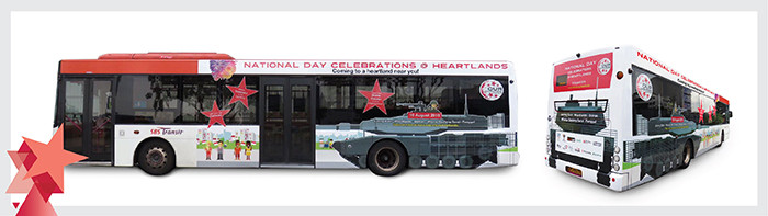 Bus wraps for National Day Celebrations @ Heartlands