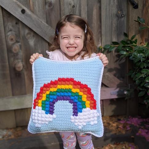 Rainbow Puff Throw Pillow - Crochet Pattern