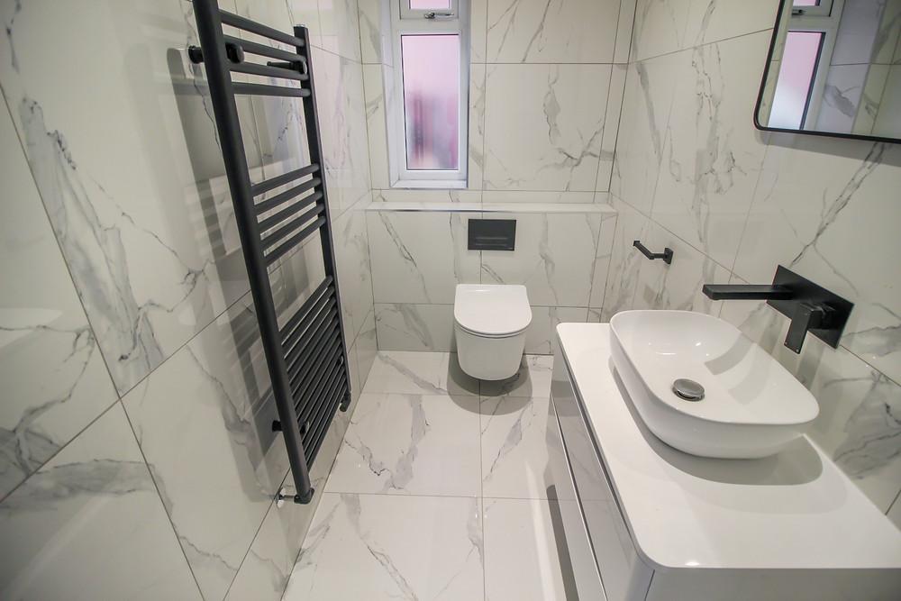Custom Made Marble Bathroom With Integrated Wall Sanitary